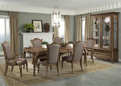 Chambord Gold Rectangular Dining Room Table w/ 2 Arm Chairs and 4 Side Chairs