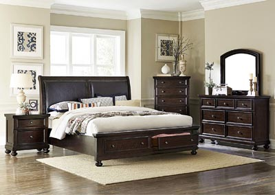 Faust Dark Cherry Queen Platform Storage Bed w/ Dresser, Mirror, Drawer Chest, and Nightstand
