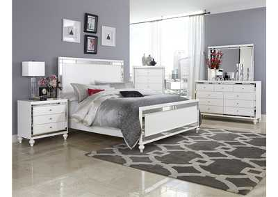 Alonza Bright White Queen Panel Bed w/ Dresser, Mirror, Drawer Chest and Nightstand