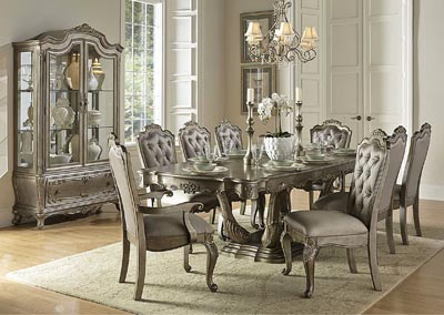 Image for Florentina Gold Rectangular Dining Room Table w/ 2 Arm Chairs and 4 Side Chairs