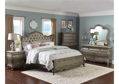 Florentina Gold Upholstered Queen Wing Bed w/ Dresser, Mirror, Drawer Chest and Nightstand