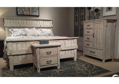 California King Bed, White, All Poplar Solid
