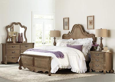 California King Bed, Oak Solid Moldings