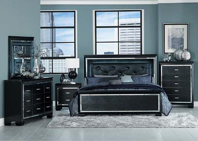 California King Bed w/LED Lighting, Black