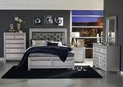 Queen Bed, Dark Gray Bi-Cast Vinyl Headboard