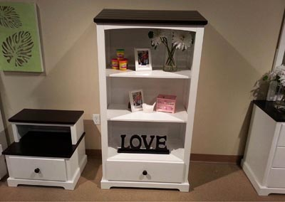 Lark White Bookcase Drawer Chest