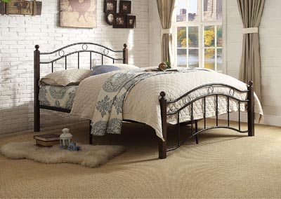 Averny Black and Brown Full Poster Bed