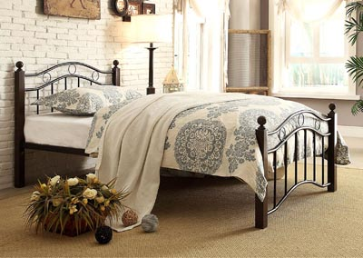 Averny Black and Brown Twin Poster Bed