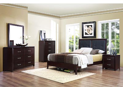 Edina Brown Espresso Upholstered Queen Platform Bed w/ Dresser, Mirror, Drawer Chest and Nightstand