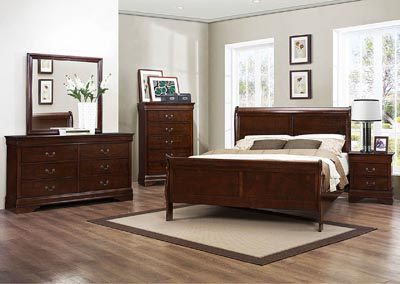 Mayville Burnish Brown Cherry Queen Sleigh Bed w/ Dresser, Mirror, Drawer Chest and Nightstand
