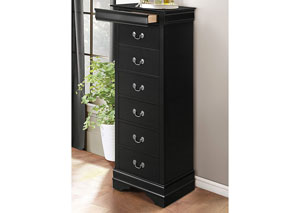 Mayville Burnished Black Lingerie Drawer Chest w/ Hidden Drawer