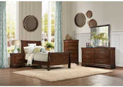 Mayville Burnish Brown Cherry Twin Sleigh Bed w/ Dresser, Mirror, Drawer Chest and Nightstand