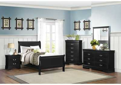 Mayville Burnished Black Full Sleigh Panel Bed