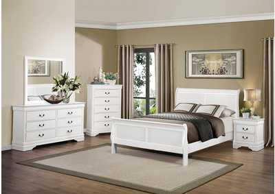 Mayville Burnished White Queen Sleigh Bed w/ Dresser, Mirror, Drawer Chest and Nightstand