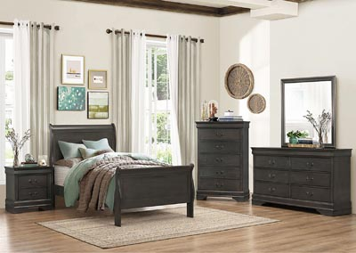 California King Bed, Stained Gray