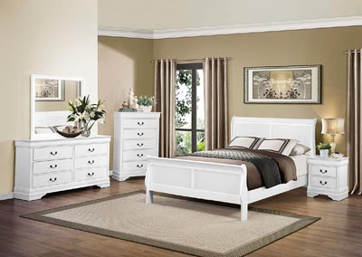 California King Bed, White