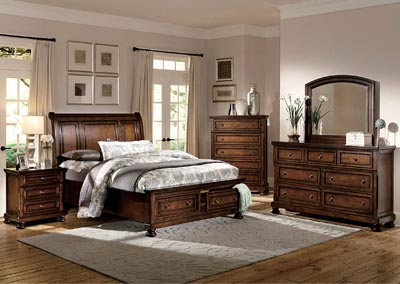 Cumberland Medium Brown Queen Storage Bed w/ Dresser, Mirror, Drawer Chest and Nightstand