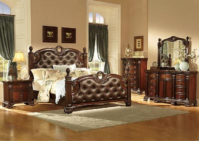 Orleans Warm Cherry Queen Bonded Leather Poster Bed