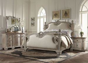 Orleans II Upholstered Linen Queen Bed w/Dresser, Mirror, Drawer Chest and Nightstand
