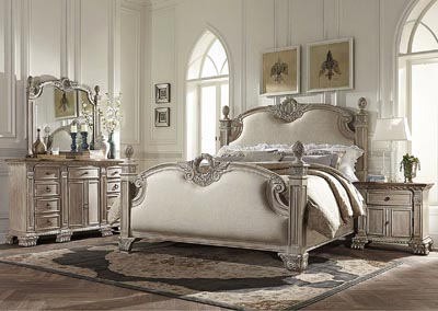California King Linen Bed, White Wash