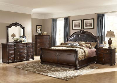 Hillcrest Manor Bonded Leather Eastern King Sleigh Bed