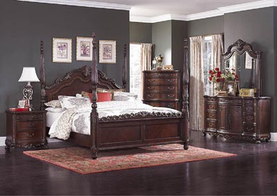 Deryn Park Queen Poster Bed w/Dresser, Mirror, Drawer Chest and Nightstand