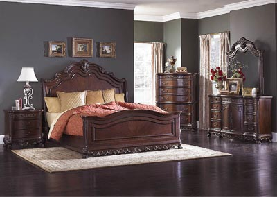 Deryn Park Queen Sleigh Bed w/Dresser, Mirror, Drawer Chest and Nightstand