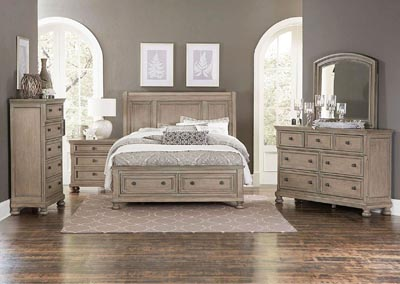 Eastern King Sleigh Platform Storage Bed