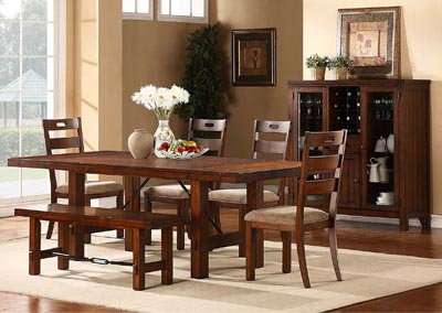 Clayton 6 Piece Dark Oak Dining Table Set w/4 Side Chairs & Bench