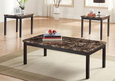 Temple 3 Piece Table Set w/Faux Marble Top