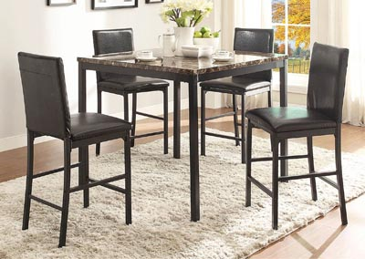 Tempe 5 Piece Counter Height Faux Marble Top Dining Table Set w/4 Counter Height Chairs