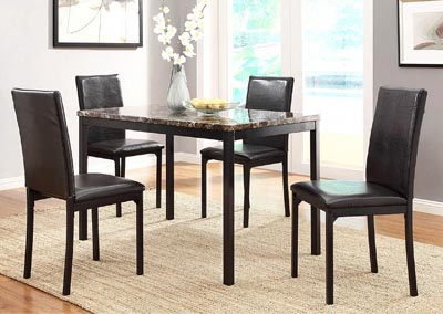 Tempe Black Dining Table w/Faux Marble Top