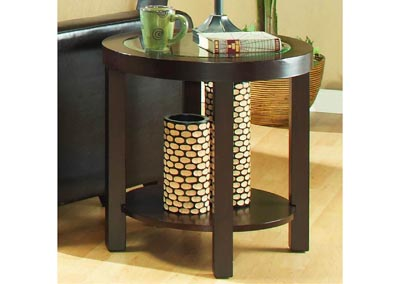 Brussel Brown Cherry Round End Table w/Shelf