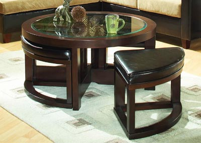Brussel Brown Cherry Round Cocktail Table w/4 Ottomans