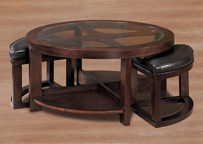 Brussel Brown Cherry Round Cocktail Table w/2 Ottoman & 2 Shelves