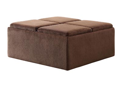 Kaitlyn Chocolate Cocktail Ottoman W/ Casters