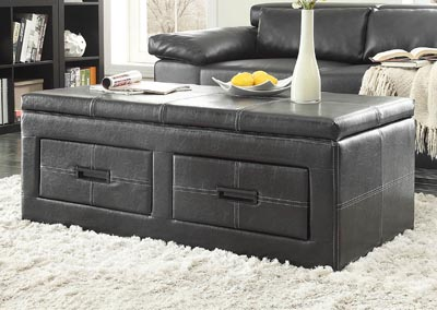 Baine Black Lift-Top Storage Cocktail Ottoman w/Casters