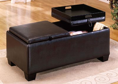 Vega Espresso Ottoman Cocktail Table w/2 Flip Tops & Storage