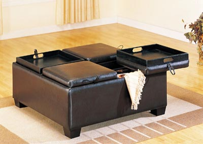 Vega Espresso Ottoman Cocktail Table w/4 Flip Tops & Storage
