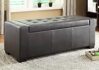 Tigard Dark Brown Lift-Top Storage Ottoman