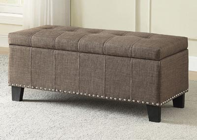 Lift-Top Storage Bench, Brown Fabric