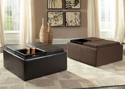 Kaitlyn Microfiber Cocktail Ottoman w/Casters