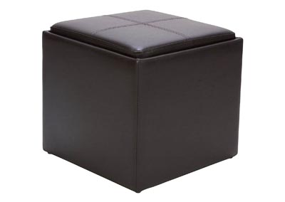 Image for Ladd Brown Vinyl Storage Cube Ottoman