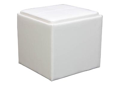 Image for Ladd White Vinyl Storage Cube Ottoman