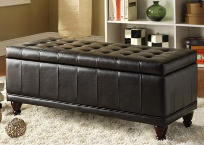Afton Dark Brown Lift-Top Ottoman Bench