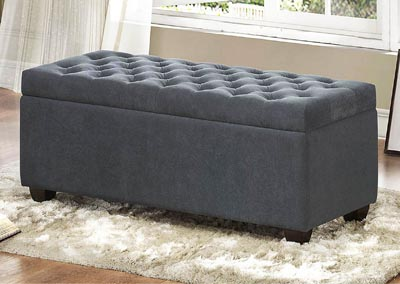 Colusa Grey Fabric Lift-Top Storage Bench