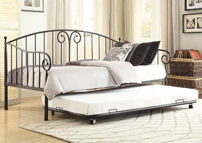 Courtney Black Metal Daybed w/Trundle