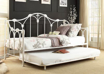 Julia White Metal Daybed w/Trundle