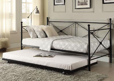 Metal Daybed w/Trundle, Black