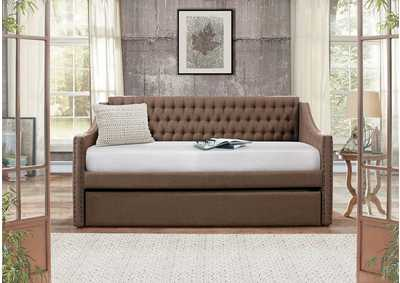 Daybed w/Trundle, Brown Fabric